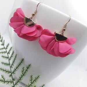 Rose Red Flower Earrings